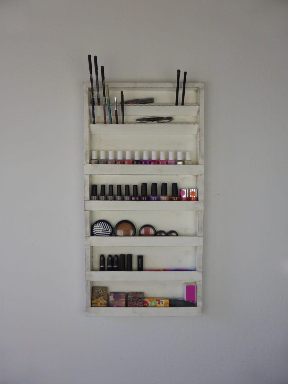Old White Nail Polish Rack Makeup Organizer Bathroom