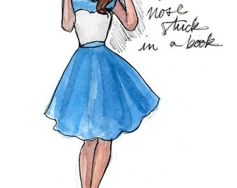 Fashion Illustration Art Print, Fashion illustration print, Fashion art, girl art, girls room art, watercolor, Disney art: Modern Day Belle