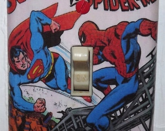 Superman vs. Spiderman  Light Switch Cover Plate - Treasury Edition DC Marvel Spider Man
