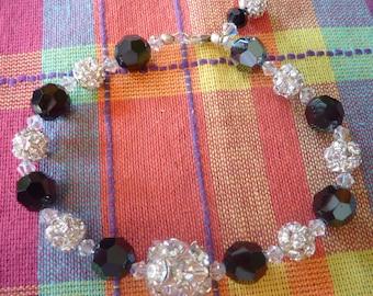 "BEEutiful Black Swarovski Crystal rhinestone ball Wedding Bracelet -- ""Mom"""