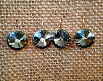 Grey Swarovski Earrings, Dark Crystal Earrings, Grey Crystal Drops, Graphite Earrings, Onyx Earrings, Round Grey Dangles, Charcoal Earrings