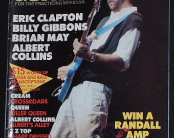 Eric Clapton,Albert Collins,Billy Gibbons,Brian May June 1986 Guitar for Practicing Musician Magazine