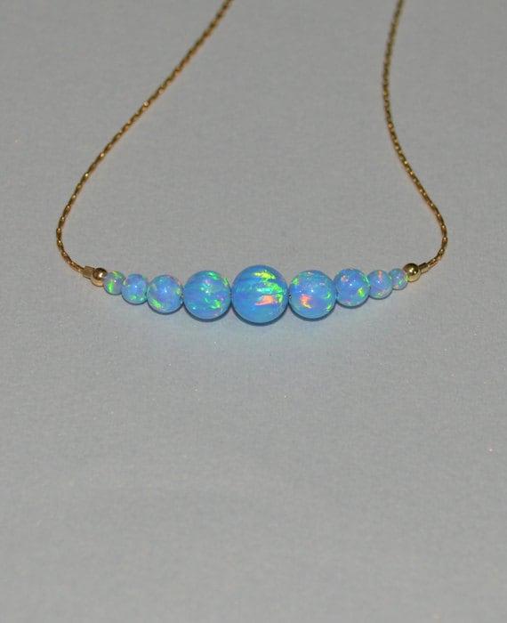 Blue Opal Necklace, Opal Jewelry, opal ball/bead necklace, opal gold necklace, simple/elegant tiny dot horizontal bar necklace
