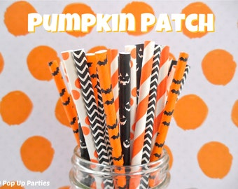 SALE!!! Halloween Mixed Paper Straws (Pumpkin Patch - Pack of 25 or 50) *Weddings, Parties, Showers, Gifts* Halloween Party Paper Straws