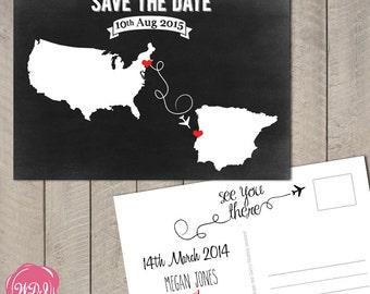 Destination Wedding Save the Date Postcard - Travel Theme - Chalkboard - Custom - Printable