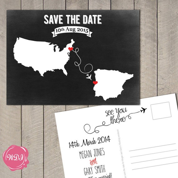 destination wedding save the date postcard travel theme chalkboard