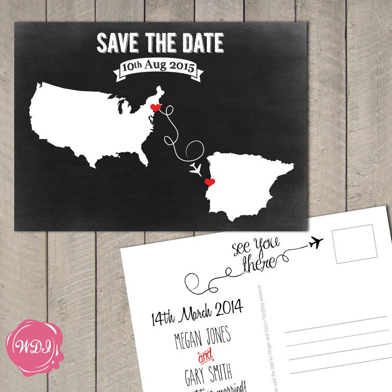 destination wedding save the date postcard travel theme