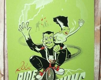 Glow in the Dark monster Screen Print, Ride the Lightning Poster, Bride of Frankenstein Monster bike ride print, green horror screenprint