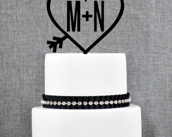 Heart Monogram Wedding Cake Topper in Two Colors – Custom Two Initials Topper- (T111)
