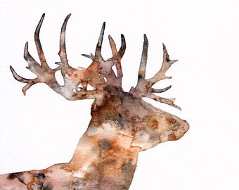 "Deer Silhouette Painting - Print from Original Watercolor Painting, ""The Great Prince of the Forest"", Stag, Buck, Deer Head"