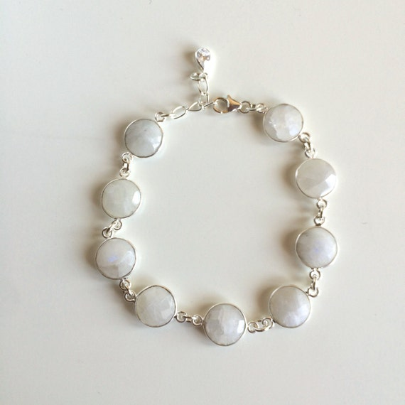 Beautiful Genuine Sterling Silver Wrapped Rainbow Moonstone Bracelet *Only Bracelet*