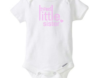 Sweet little sister onesie, cotton, baby girl onesie, baby girl, pink, purple, heart