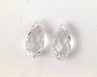 6010 CRYSTAL 13mm Swarovski Crystal Briolette Drop Clear Transparent Faceted 2pieces