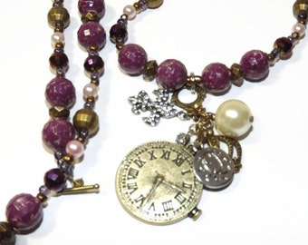 J 13 Beaded Necklace, Charm Necklace, Steampunk Necklace, Charm Necklace, Pendant Necklace , Purple Necklace, Pink Necklace, Long Necklace
