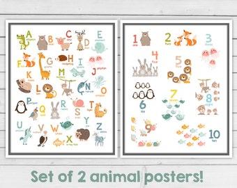 Set of 2 - Alphabet wall art Alphabet animals Animal numbers Alphabet poster Alphabet wall decal ABC poster Nursery decor Digital Pdf