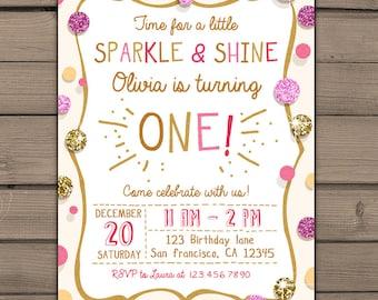 Sparkle and Shine Birthday Party Invite Gold glitter Pink Invitation Girl Birthday Invitation First Birthday invitation PRINTABLE ANY AGE