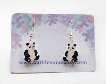 Panda drop animal earrings