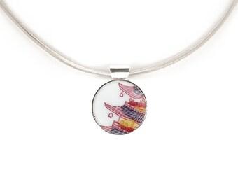 Japanese design nekclace, china pendant, Broken China Jewelry, Old pottery jewel