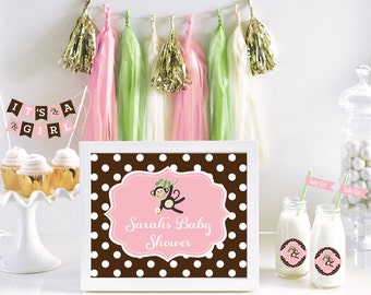 Monkey baby shower centerpiece sign pink monkey baby shower ideas girl monkey baby shower - Baby shower monkey decorations for a girl ...