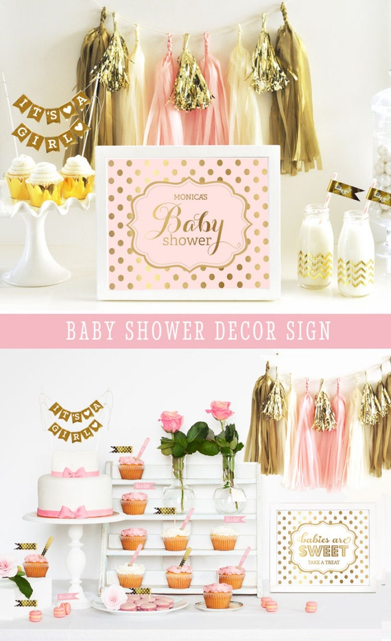 pink and gold baby shower sign decor polka dot baby shower sign