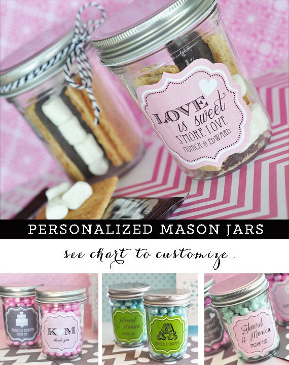 Smores wedding favors mason jar wedding favors diy by modparty for Why are mason jars called mason jars