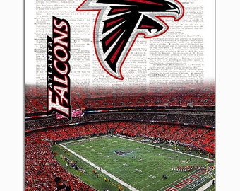 Atlanta Falcons Dictionary Art Print - Falcons Stadium upcycled dictionary page book art print. Mancave gift Buy any 3 teams get 1 free!
