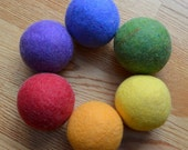 Rainbow Felted Wool Balls, Set of 6 Natural Wool Balls for Active Play by Song and Season