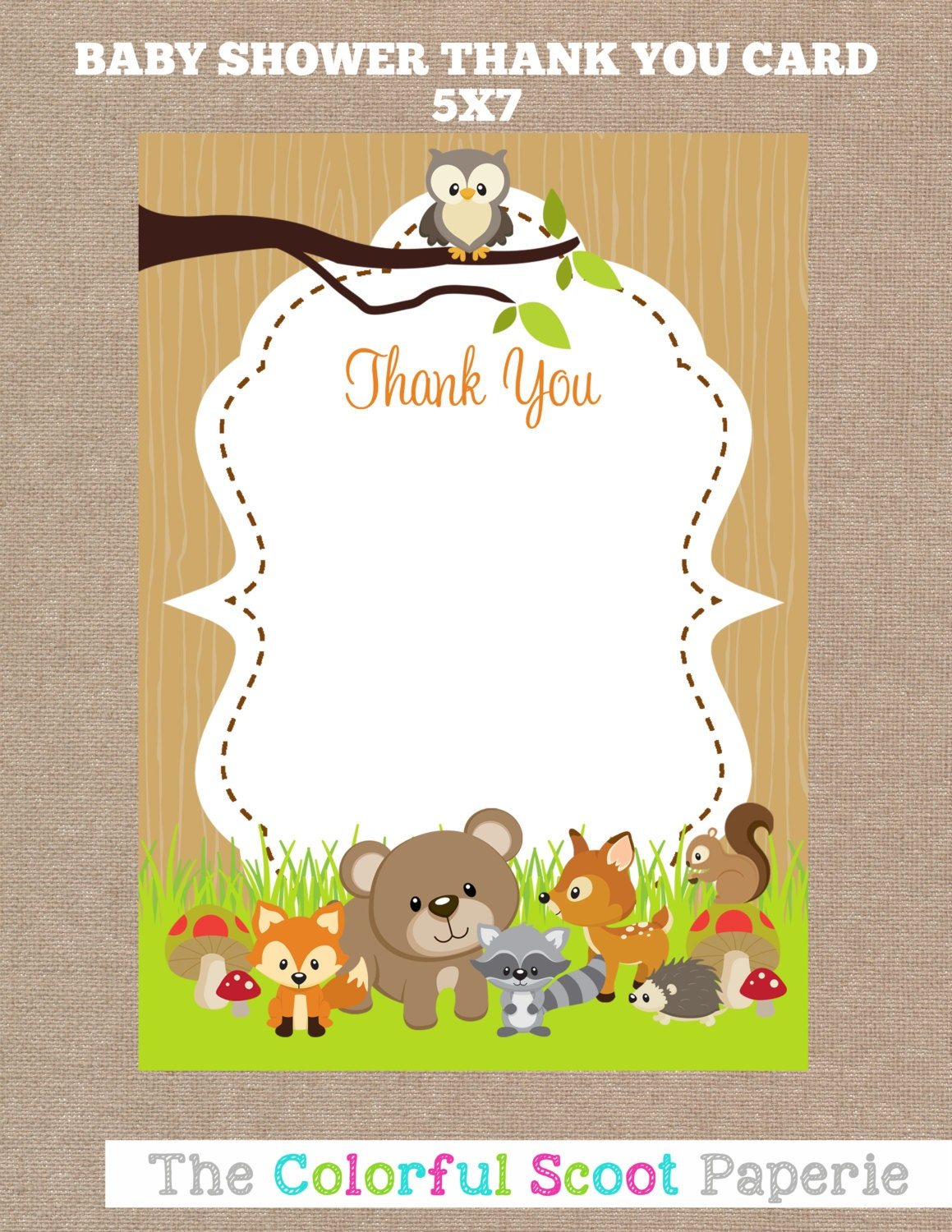 woodland animal baby shower thank you cards