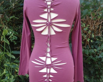 Long sleeve pixie top cut out slashed braided open back psytrance festival