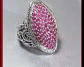 Vintage Sterling Silver Ruby Cocktail Ring
