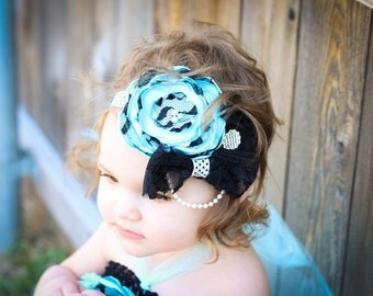 Aqua and Black Satin Flower Headband