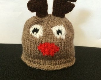 Christmas Hand Knitted Reindeer Hat Newborn Baby/Child/Boys/Girls Great Christmas Gift