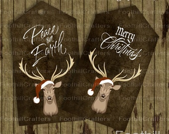 Instant Download, 8 Christmas Deer Gift Tags, 3.75 x 2 Inches, Printable Digital Collage Sheet, Download, Woodland Holiday Tags