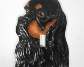 Cocker Spaniel Light Switch Cover Black Tan Signed Dated Ceramic