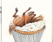 Greeting Card - Silly Horse on a Cupcake - Birthday or Blank - Perfect for Horse Lovers, Horse Birthday, Cupcake Card