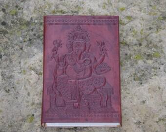 Handmade Leather Travel notebook Journal Diary Sketchbook Notebook Handmade Paper Hand Enbossed ,Ganesha