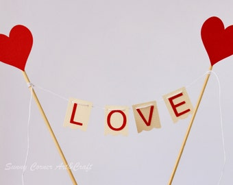 Love Cake topper, Valentine's day cake bunting, Table centerpiece, Anniversary cake bunting