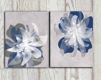 Navy blue gray flower wall art prints Large poster print 16x20, 8x10 Set of 2 Bedroom decor Living room decor Home decor INSTANT DOWNLOAD