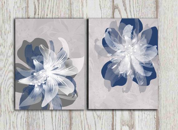 navy blue gray flower wall art prints large poster print 16x20 8x10