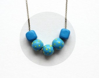 SALE! Clay beads necklace, beaded necklace, short clay necklace,modern necklace,minimalist necklace, necklace,ceramic necklace,boho necklace