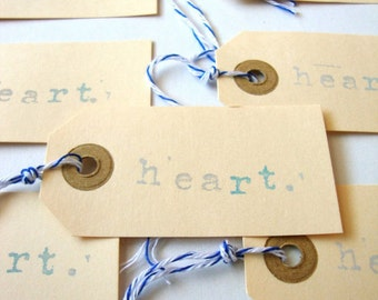Heart Parcel Tags, Gift tags, set of 12 hand stamped manilla heart parcel tag with bakers twine