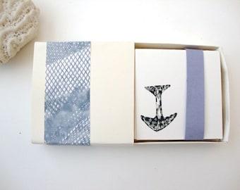 Anchor Card Set: Stationery Set blank mini enclosure card set hand printed screenprinted mini tiny
