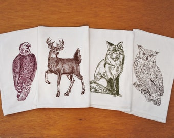 Kitchen Tea Towel Set of 4 - Forest Animal Theme - Screen Printed Flour Sack Material - Perfect Tea Towels for Dishes