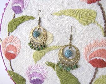 SALES !!! Gypsy boho earrings - chandelier earrings - turquoise and gold