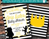 Any Color WILD THINGS Black and White Stripes Gold 1st 2nd 3rd 4th Max Book Birthday Rumpus Party Bridal Baby Shower Invitation