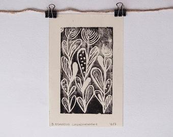 "LINOCUT PRINT,  folk style  flowers print 2,83"" x 4,6"""