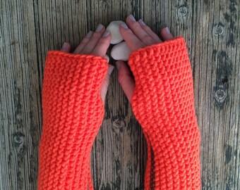 Coral Red Mittens Fingerless Gloves Cozy Mittens Handknit Gloves Handwarmer Armwarmer Winter Fashion