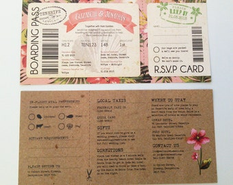 SAMPLE of Tropical Travel Boarding Pass wedding invitation