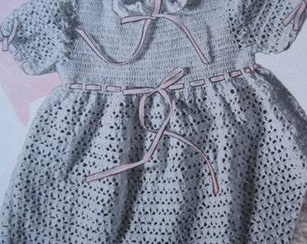 Crochet Pattern - Girls Dress - Size 12 to 18 months - Vintage 1950's