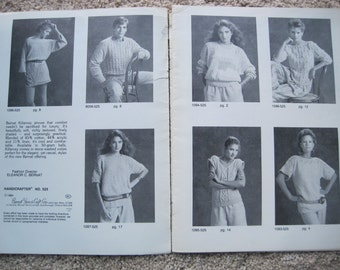 Knit Pattern Book - #525 by Bernat - 7 Projects to create - Size Small, Medium, Large - Vintage 1984